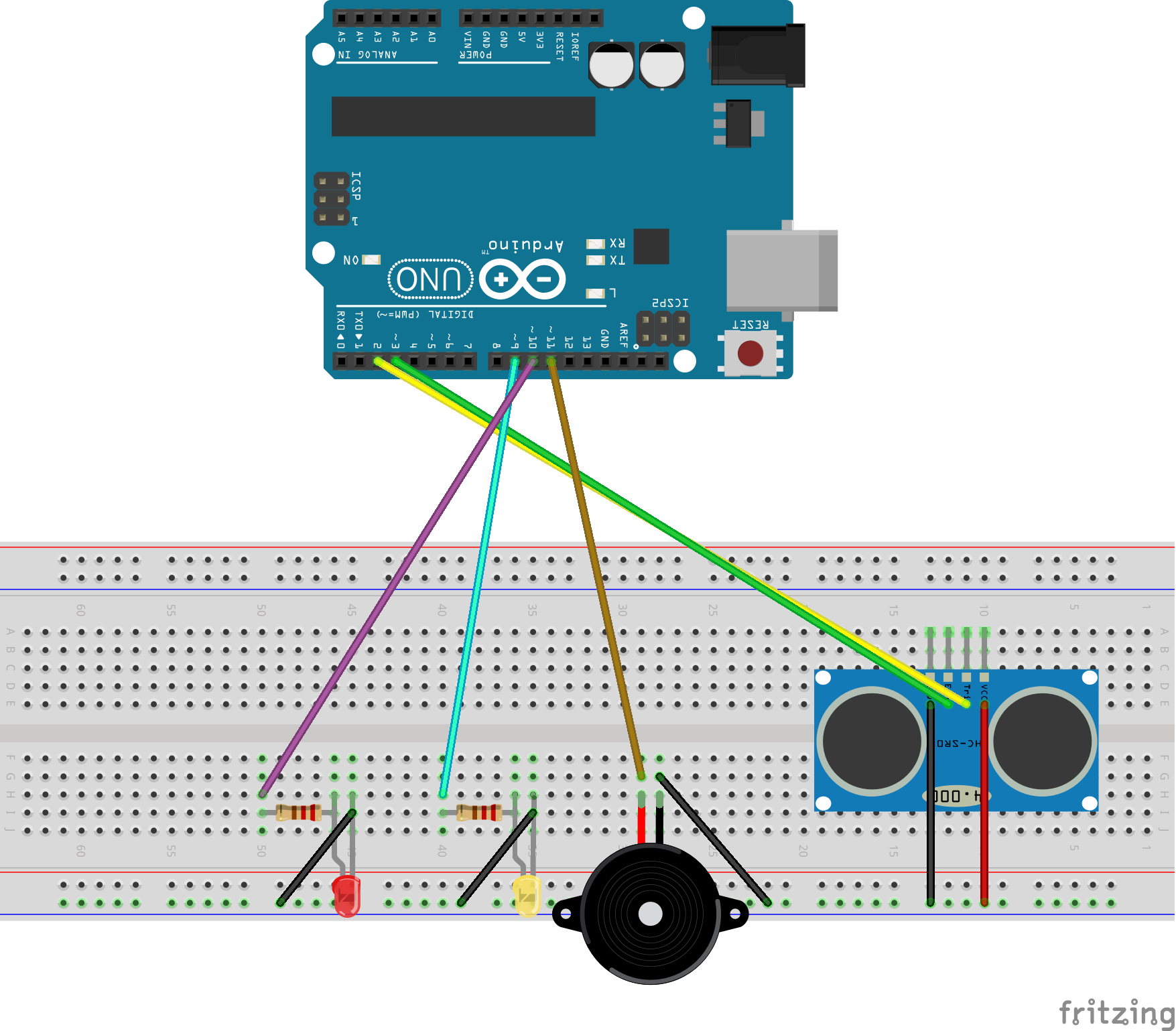 Basic Arduino Proximity Detector with Buzzer and LEDs | Tech4Teaching